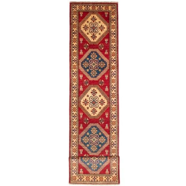 ECARPETGALLERY  Hand-knotted Finest Gazni Cream, Dark Burgundy Wool Rug - 2'6 x 12'4