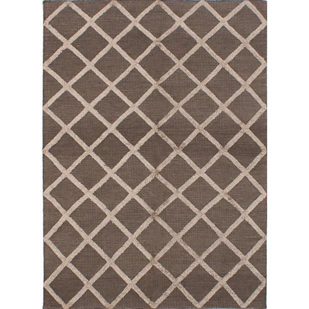 ECARPETGALLERY  Flat-weave Cambridge Beige, Dark Grey Silk Kilim - 5'1 x 7'1