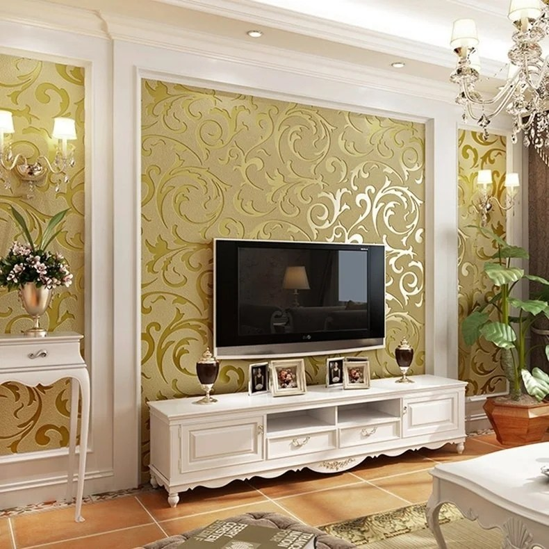 Shop Non Woven Flocking Wall Paper Roll Wall Background Living Room 3d Wallpaper Overstock 23039073