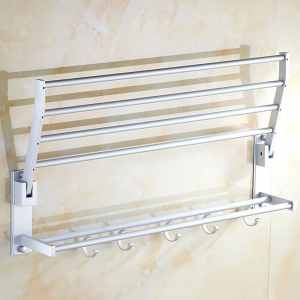 Double Tiers Aluminum Towel Shower Shelf Rack Holder with 5 Hooks 50cm