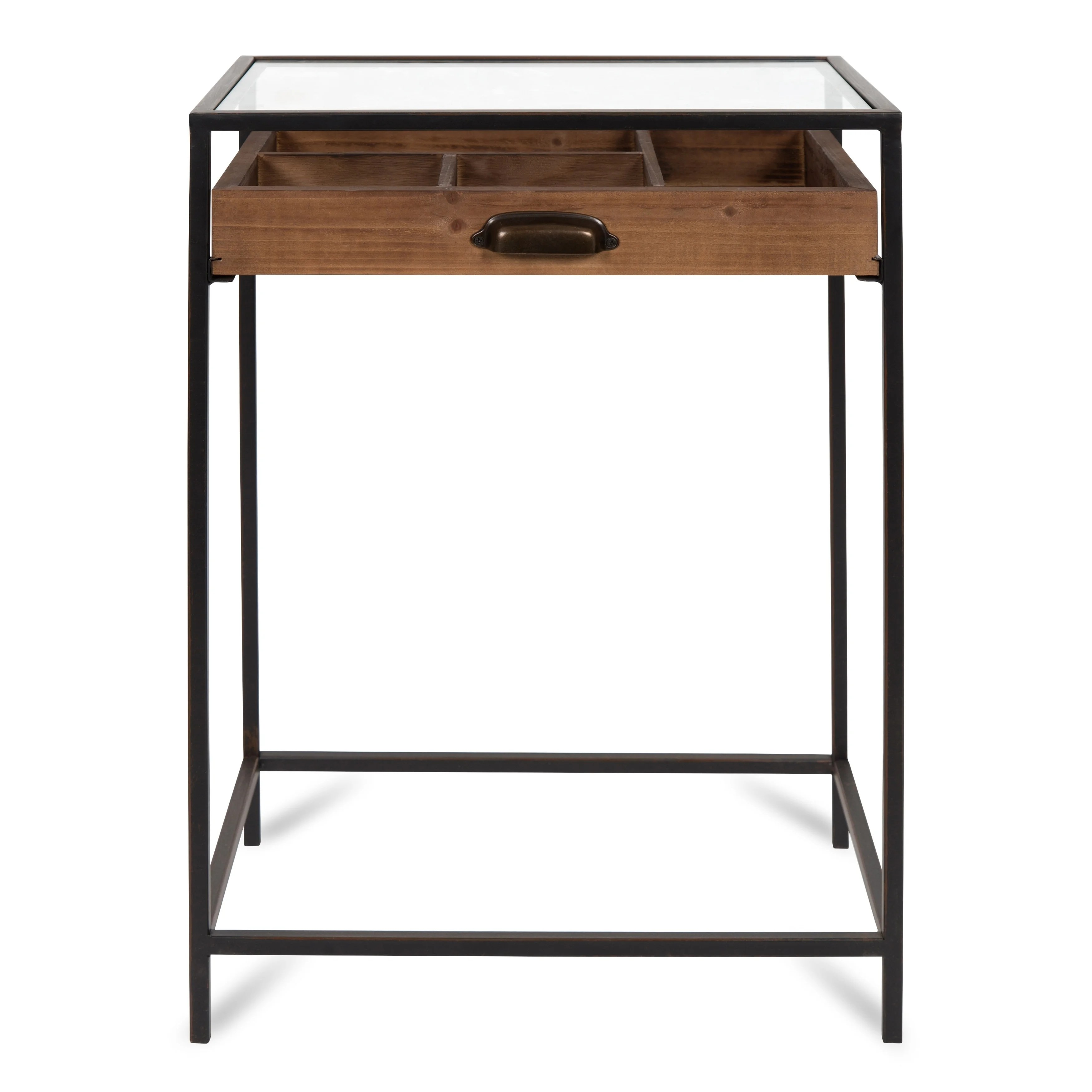 kate and laurel mcconnell glass top display end table
