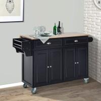 Shop HomCom Wood Top Drop-Leaf Multi-Storage Cabinet ...