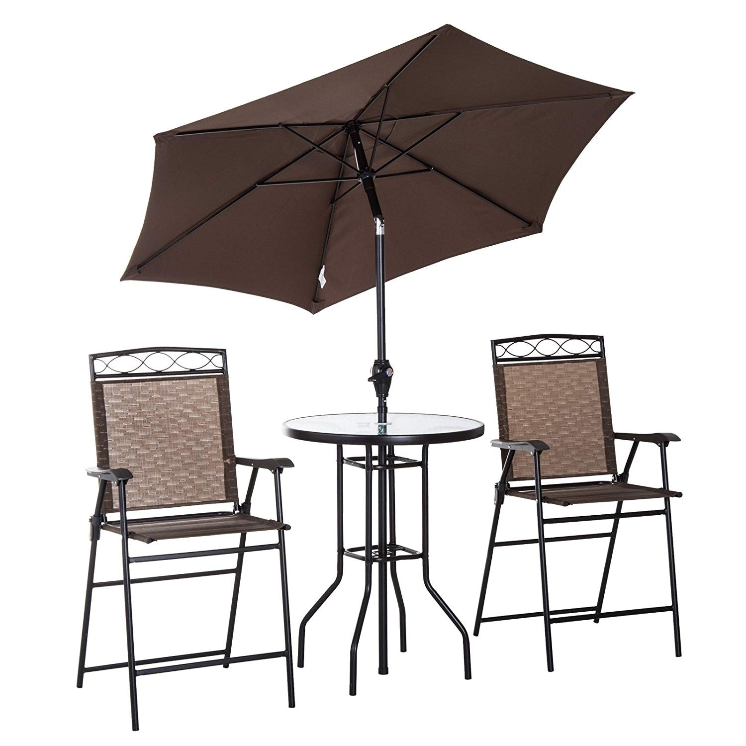 outsunny 4 piece folding outdoor patio pub dining table chairs set with 6 adjustable tilt umbrella glass table