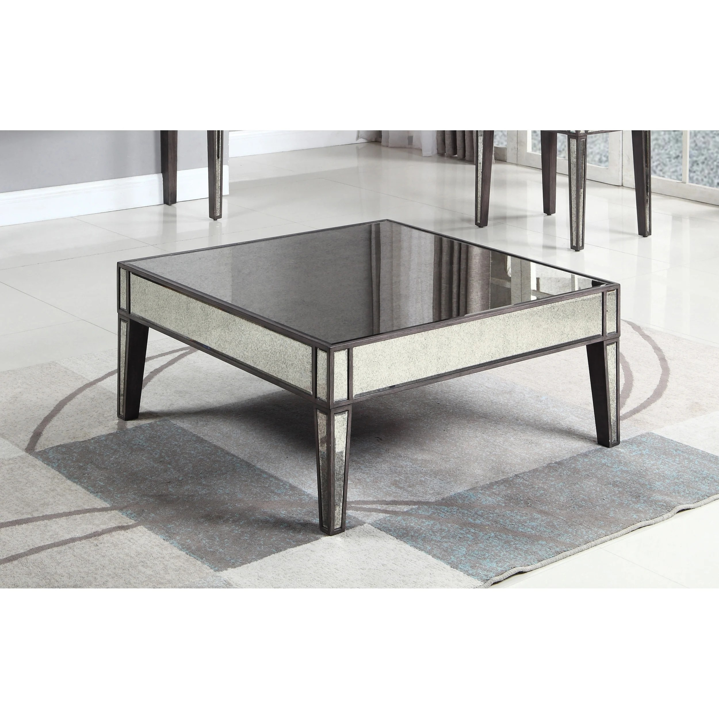 best master furniture grey brown wood antique mirror square coffee table