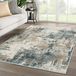Juniper Home Tempesta Blue/Grey Viscose-blend Abstract Area Rug - 5'3 x 7'6
