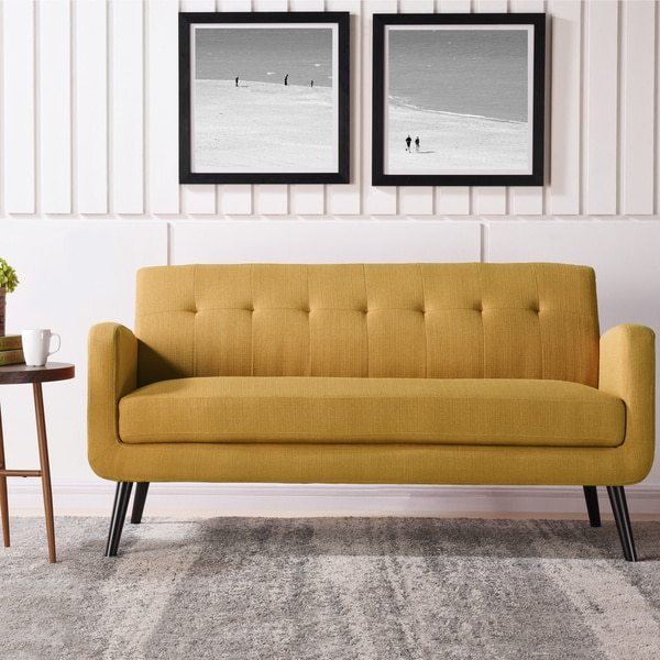 crate and barrel lounge sofa pilling argos sofas leather corner shop carson carrington tjaereborg mid century modern mustard yellow linen