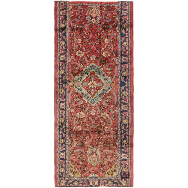 Hand Knotted Farahan Semi Antique Wool Runner Rug - 3' 9 x 9' 4