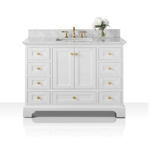 Ancerre Designs Audrey White Birch Wood with White Carrara Marble Top and Goldtone Hardware 48-inch Vanity