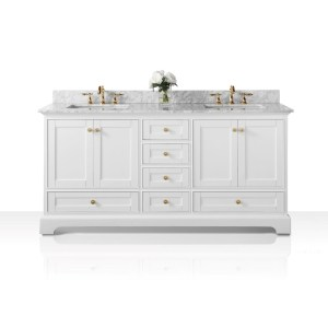 Ancerre Designs Audrey White Birchwood 72-inch Vanity with Carrara White Marble Top and Gold Finish Hardware