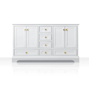 Ancerre Designs Audrey White Birch Wood with Goldtone Hardware 60-inch Vanity