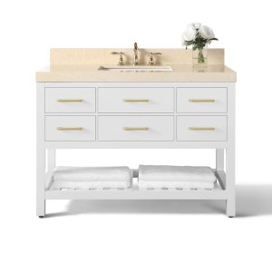 Ancerre Designs Elizabeth White Birch Wood with Beige Galala Marble Top and Goldtone Hardware 48-inch Vanity