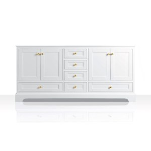 Ancerre Designs Audrey White Birch Wood with Goldtone Hardware 72-inch Vanity