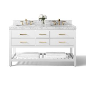 Ancerre Designs Elizabeth White Birchwood 60-inch Vanity with Carrara White Marble Top and Gold Finish Hardware