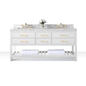 Ancerre Designs Elizabeth 72-Inch White Vanity with Carrara White Marble Top and Gold Finish Hardware