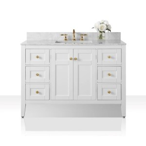 Ancerre Designs Maili White Birchwood 48-inch Vanity with Carrara White Marble Top and Goldtone Finish Hardware