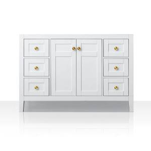 Ancerre Designs Maili Collection White Birchwood Vanity with Goldtone Hardware