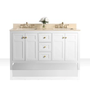 Ancerre Designs Maili White Wood 60-inch Vanity with Galala Beige Marble Top and Gold Finish Hardware