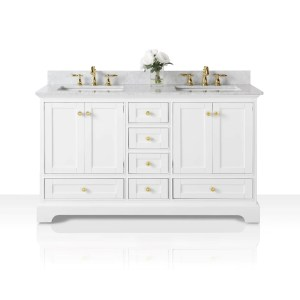 Ancerre Designs Audrey White Birchwood 60-inch Vanity with Carrara White Marble Top and Gold Finish Hardware