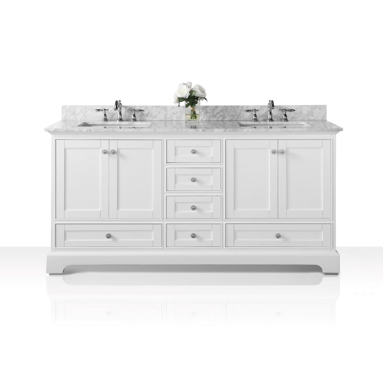 Ancerre Designs Audrey 72-inch White Wood Vanity with Carrara White Marble Top