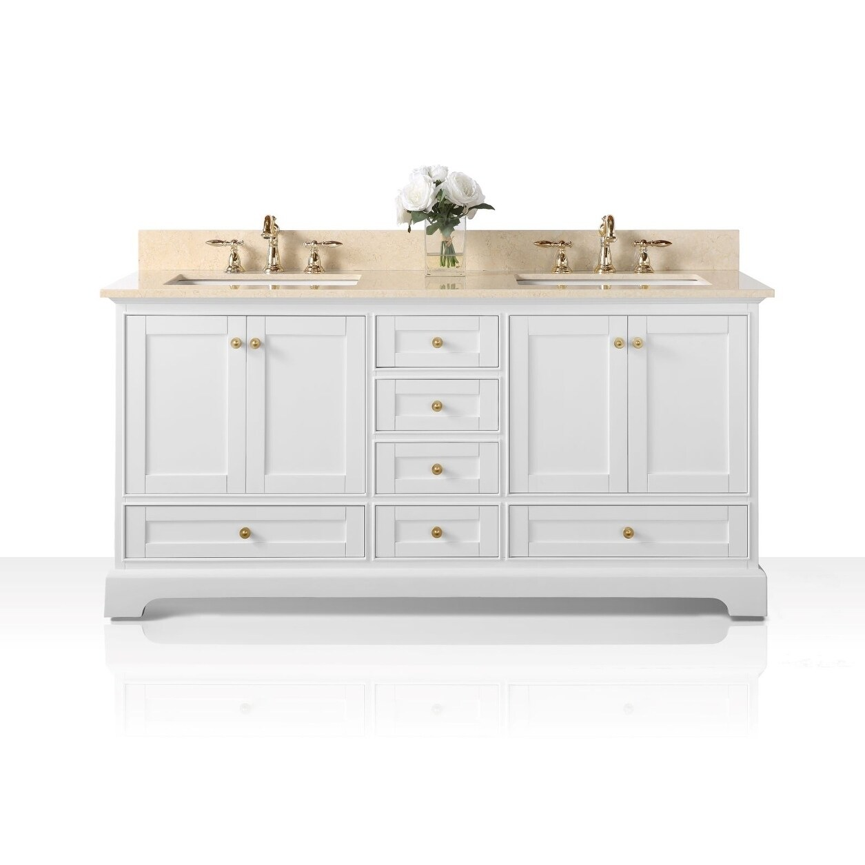 Ancerre Designs Audrey White Birch with Beige Galala Marble Top and Goldtone Hardware 72-inch White Vanity