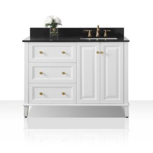Ancerre Designs Hannah 48-inch White Black Granite Top Vanity with Right-side Sink, Mirror and Gold Finish Hardware