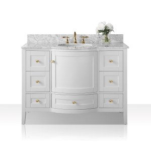 Ancerre Designs Lauren White Vanity with Carrara White Marble Top and Gold Finish Hardware