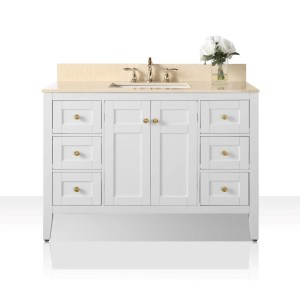Ancerre Designs Maili White Wood with Galala Beige Marble Top and Gold Finish Hardware 48-inch Vanity