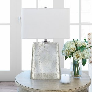 Despina Table Lamp in Silver Mercury Glass Finish with Linen Shade