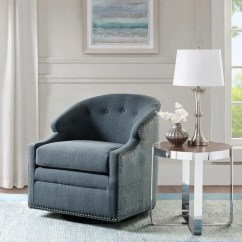 Blue Glider Chair Safety First High Recall Shop Madison Park Binghamton Swivel With Pewter Nailheads