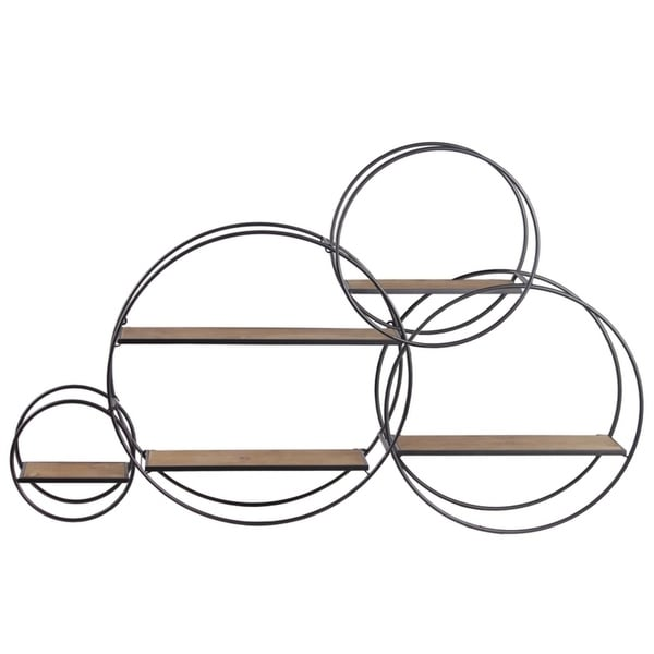 Shop Metal Round Wall Shelf With 5 Wooden Shelves, Set of