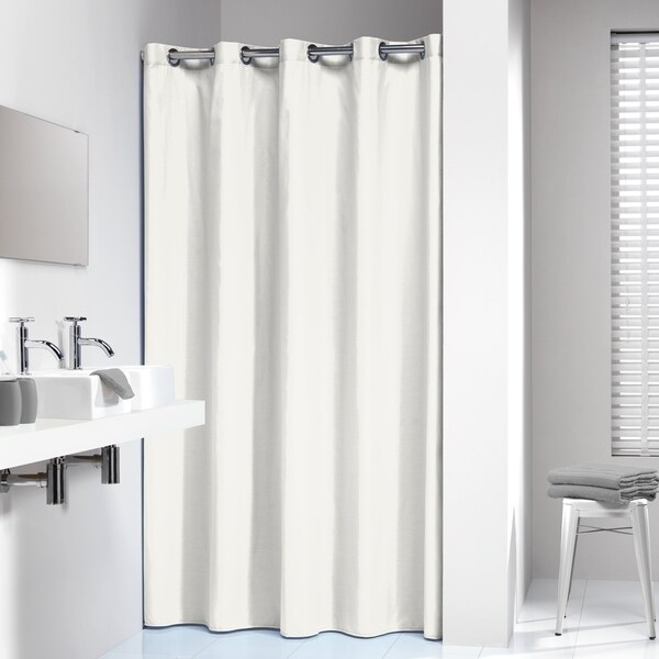 Shop Sealskin Extra Long Hookless Shower Curtain 78 X 72 Inch Coloris Off White Cotton On Sale