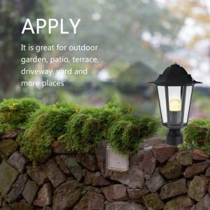 Weatherproof Post Pole Light Outdoor Nordic Style Lantern Lamp Without Bulb