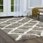 Paramount Diamond Gray White Shag Area Rug By Elle Home 5 2 X7 2 Overstock 23465217