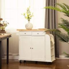 White Kitchen Island Cart Pictures Shop Glitzhome With Rubber Wooden Top On