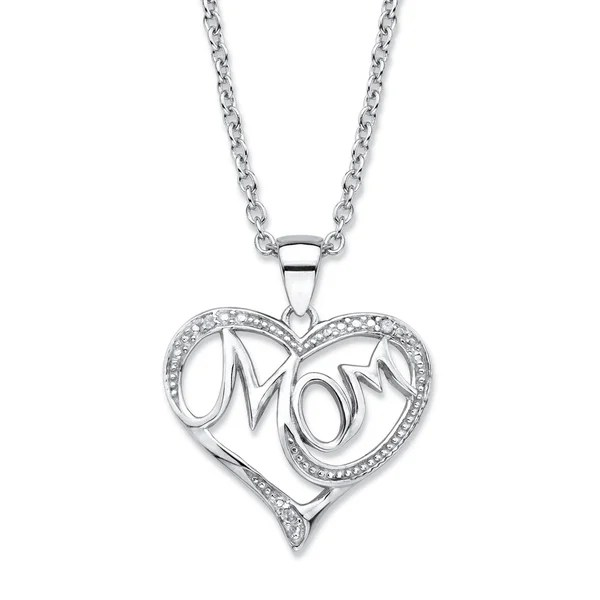 Shop Sterling Silver Mom Pendant (20mm) Genuine Diamond