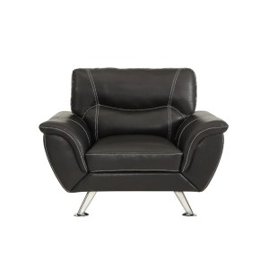 Leather Upholstered Chair With Splayed Chrome Legs, Black