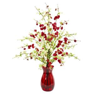 Cherry Blossom Artificial Arrangement in Ruby Vase