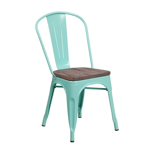 green metal bistro chairs peacock for sale shop offex mint stackable style chair with textured wood seat