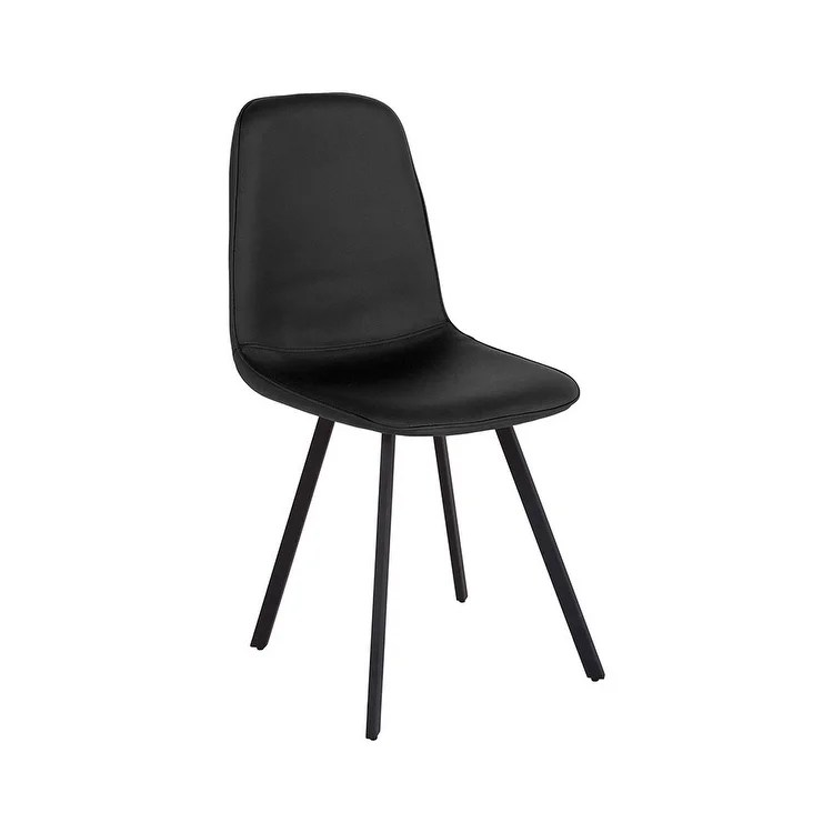 Offex Argos Contemporary Curvaceous Padded Dining Chair in Black Vinyl