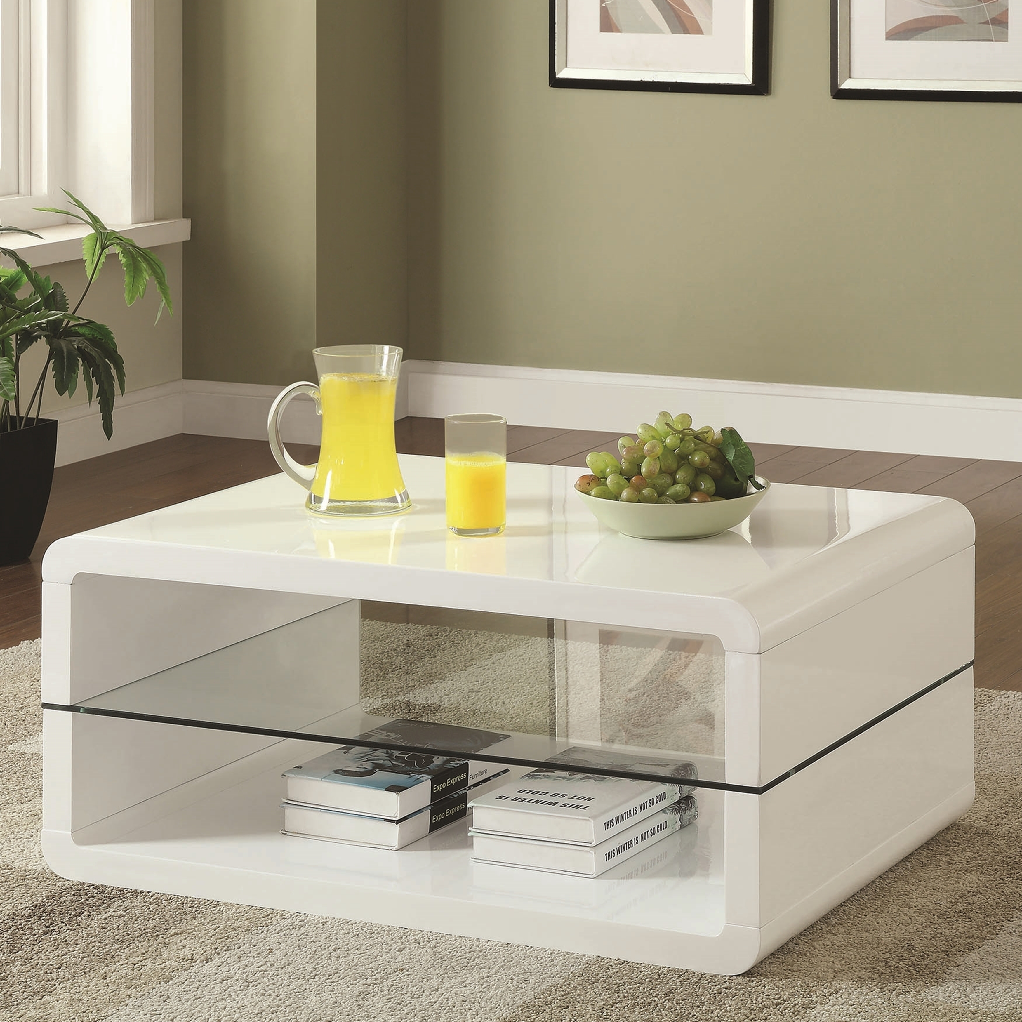 Modern Cube Design Accent Coffee Table with Glass Shelf