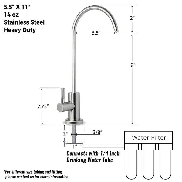 ispring ga1 ss stainless steel kitchen bar sink reverse osmosis ro filtration drinking water faucet brushed nickel