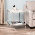 Silver Orchid Hinding Faux Marble End Table Overstock 23566022