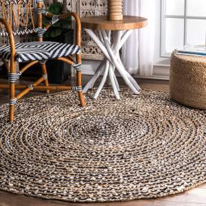 nuLOOM Causal Natural Fiber Jute And Cotton Pinstripes Black Round Area Rug - 4' Round
