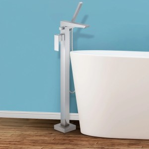 Bolzano Floor Mounted Freestanding Tub Filler - Brushed Nickel - Brushed nickel