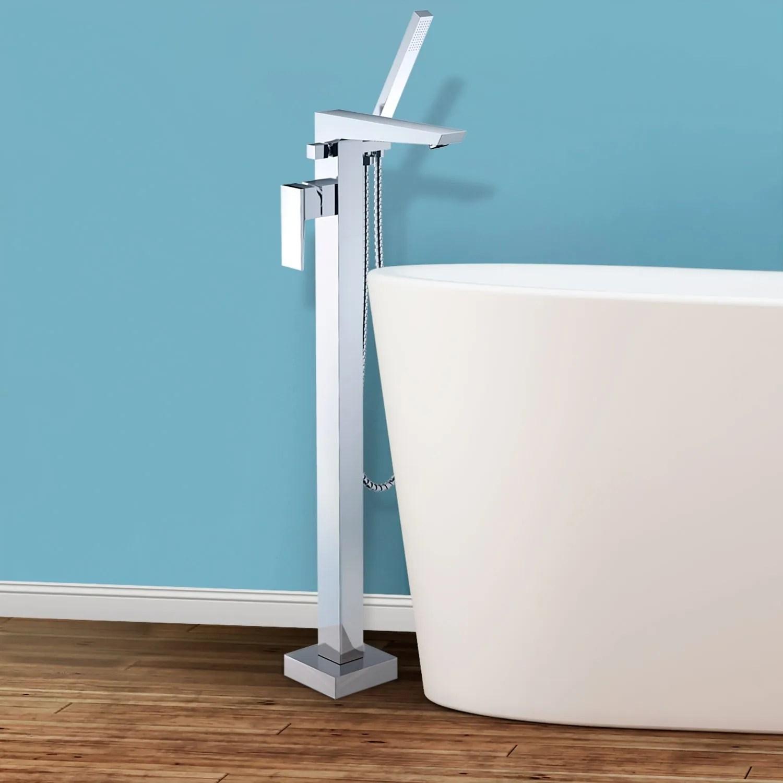 Bolzano Floor Mounted Freestanding Tub Filler - Chrome