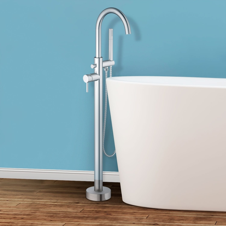 Sorrento Floor Mounted Freestanding Tub Filler - Brushed Nickel - Brushed nickel