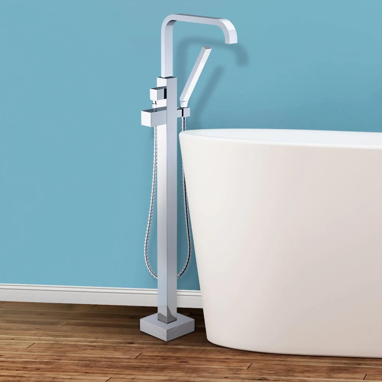 Trento Floor Mounted Freestanding Tub Filler - Chrome