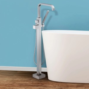 Trento Floor Mounted Freestanding Tub Filler - Brushed Nickel - Brushed nickel