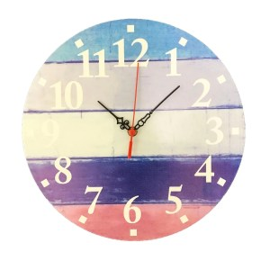 "Creative Motion 12"" Wood Decorative Wall Clock with Multi Horizontal Color Strip On The Clock Face"