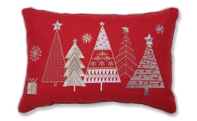 Shop Christmas Star Topped Trees Lumbar Pillow Red Free